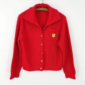 Vintage Red Retro Preppy Cardigan Knit Sweater
